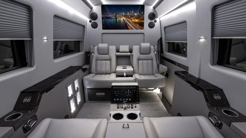 Interrior of Refitted Mercedes Bens Sprinter Van.